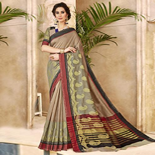Classy Light Brown Colored Festive Wear Woven Art Silk Saree