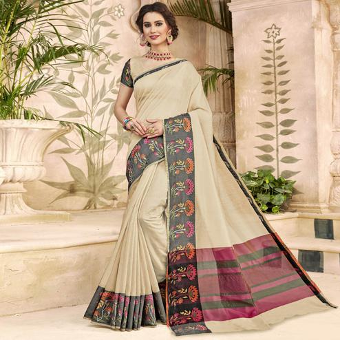 Glorious Cream Colored Festive Wear Woven Art Silk Saree