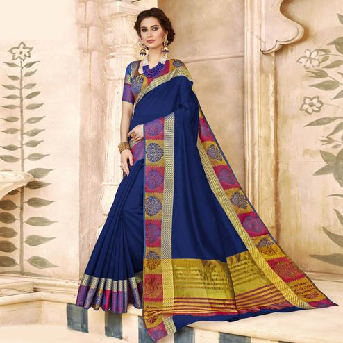 Lovely Navy Blue Colored Festive Wear Woven Art Silk Saree