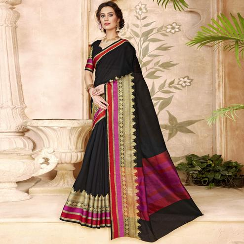 Pretty Black Colored Festive Wear Woven Art Silk Saree