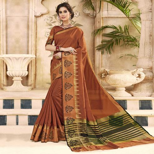 Charming Brown Colored Festive Wear Woven Art Silk Saree