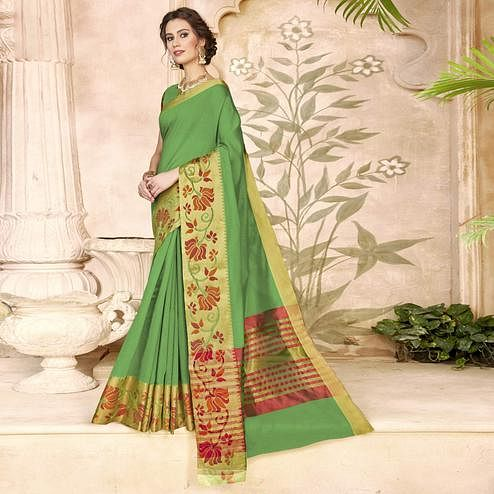 Ravishing Green Colored Festive Wear Woven Art Silk Saree