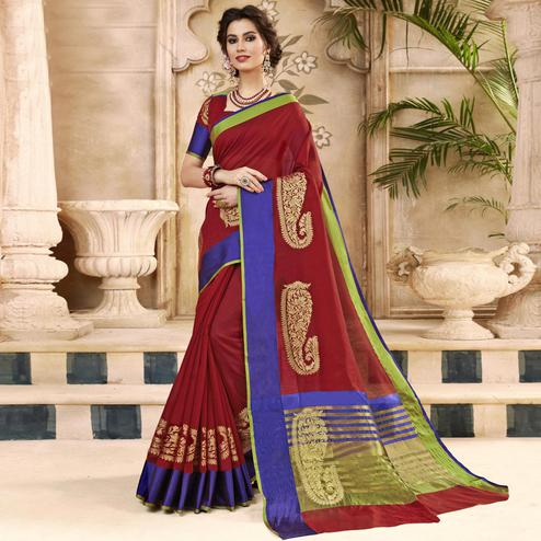 Intricate Maroon Colored Festive Wear Woven Art Silk Saree