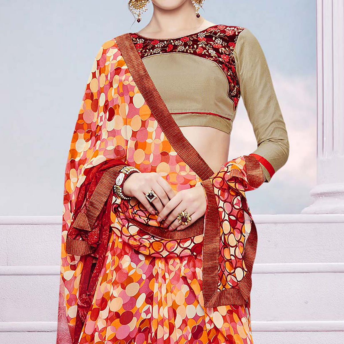 Multicolored Saree with Embroidered Blouse
