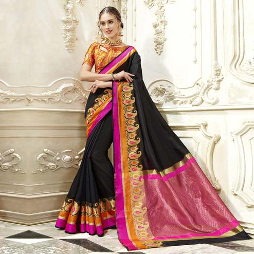 Desirable Black Colored Festive Wear Woven Art Silk Saree
