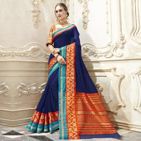Sophisticated Blue Colored Festive Wear Woven Cotton Saree