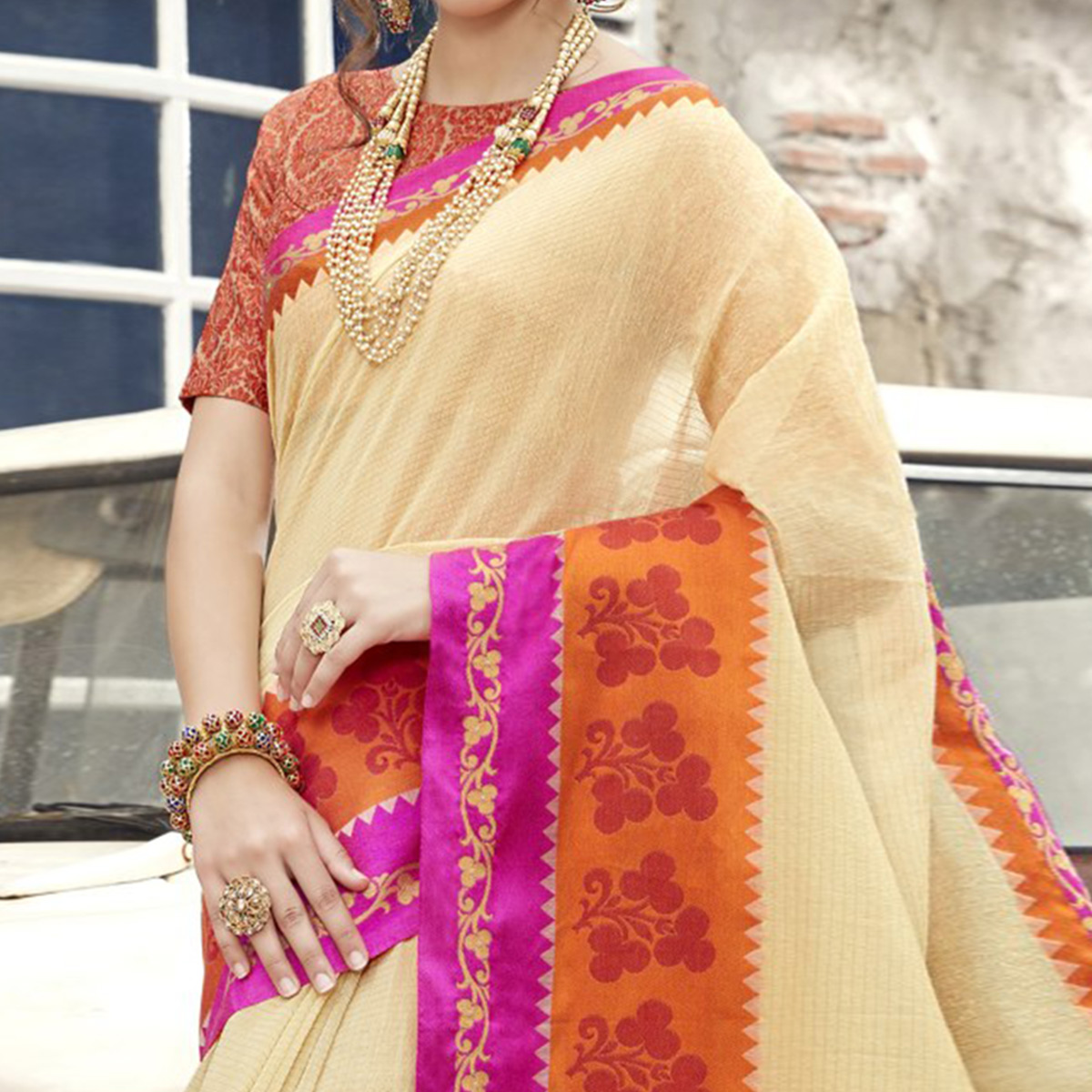 Demanding Beige Colored Festive Wear Woven Cotton Saree