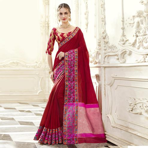 Pleasant Maroon Colored Festive Wear Woven Art Silk Saree