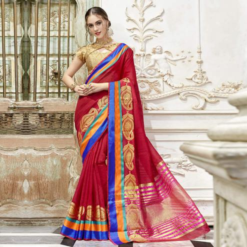Unique Deep Pink Colored Festive Wear Woven Art Silk Saree