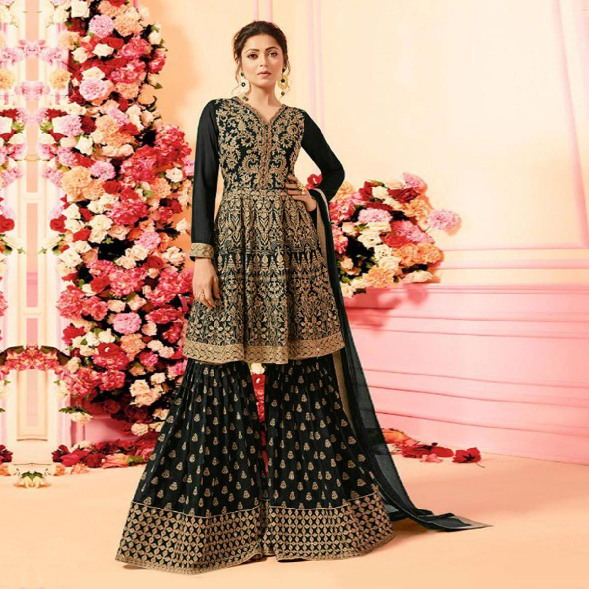 Adorable Black Colored Party Wear Embroidered Faux Georgette Palazzo Suit