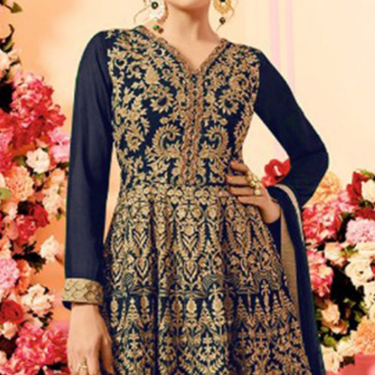 Attractive Navy Blue Colored Party Wear Embroidered Faux Georgette Palazzo Suit