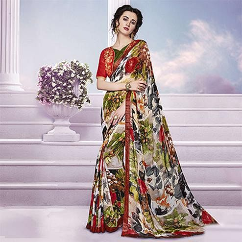 Off White Printed Saree with Embroidered Blouse
