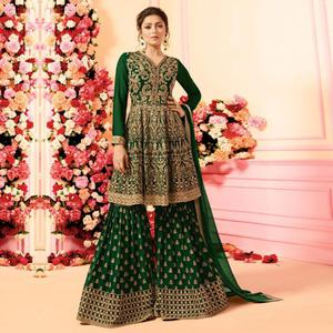 Beautiful Green Colored Party Wear Embroidered Faux Georgette Palazzo Suit