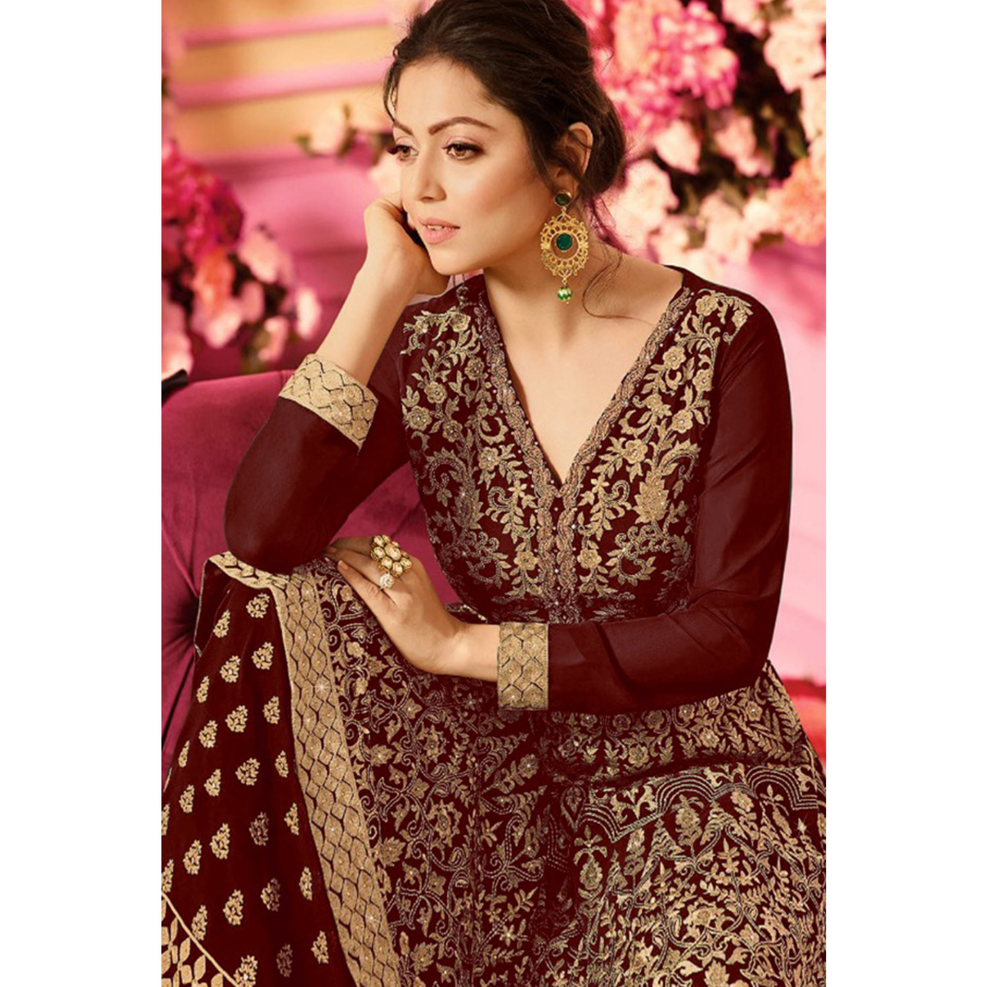 Gorgeous Maroon Colored Party Wear Embroidered Faux Georgette Palazzo Suit