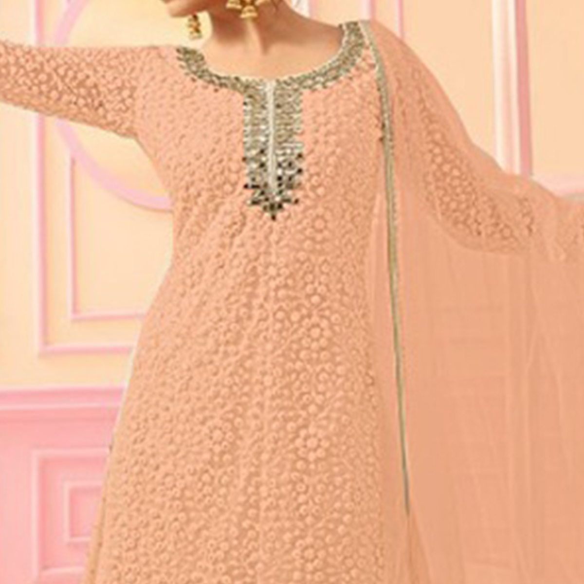 Classy Light Orange Colored Party Wear Embroidered Faux Georgette Palazzo Suit