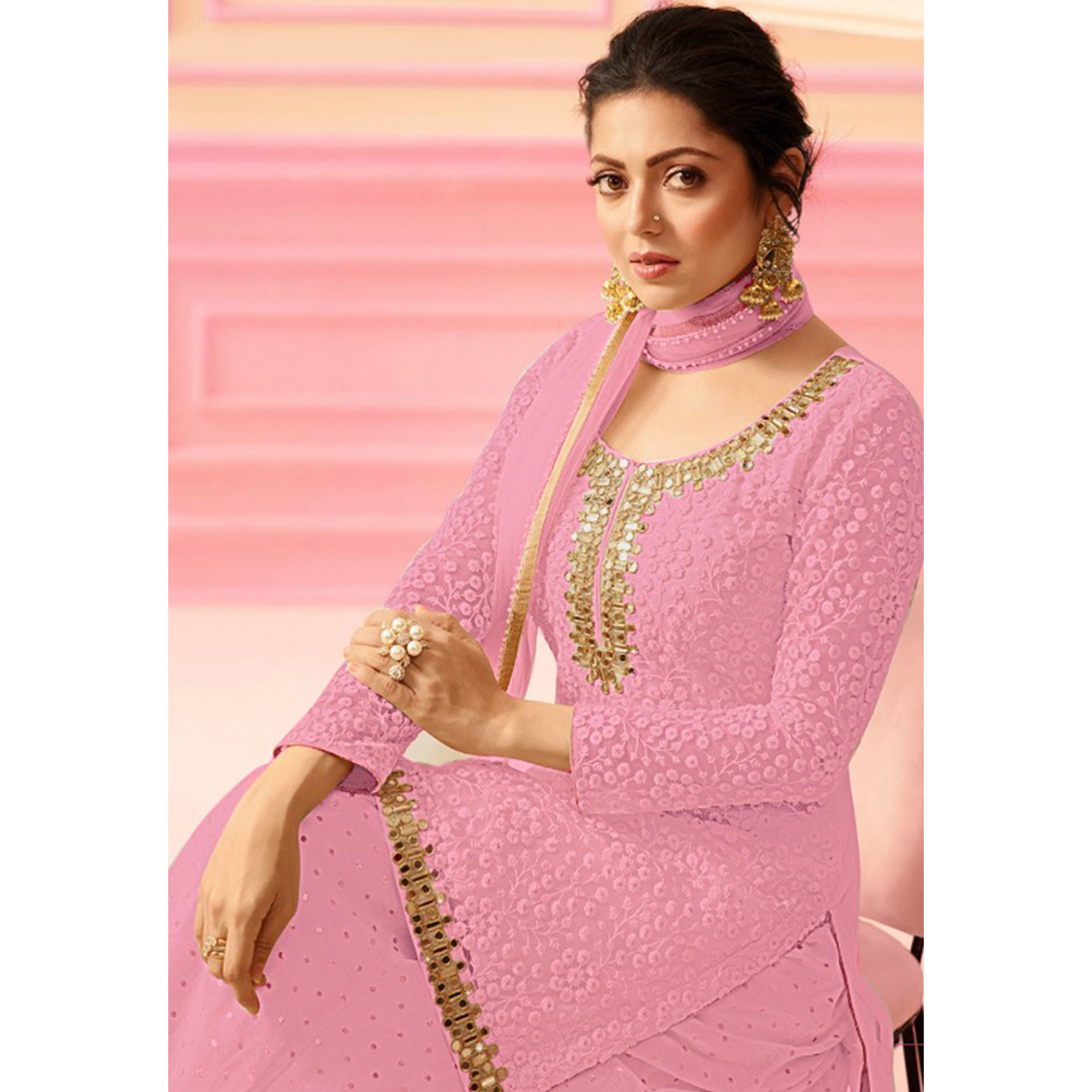 Glorious Pink Colored Party Wear Embroidered Faux Georgette Palazzo Suit