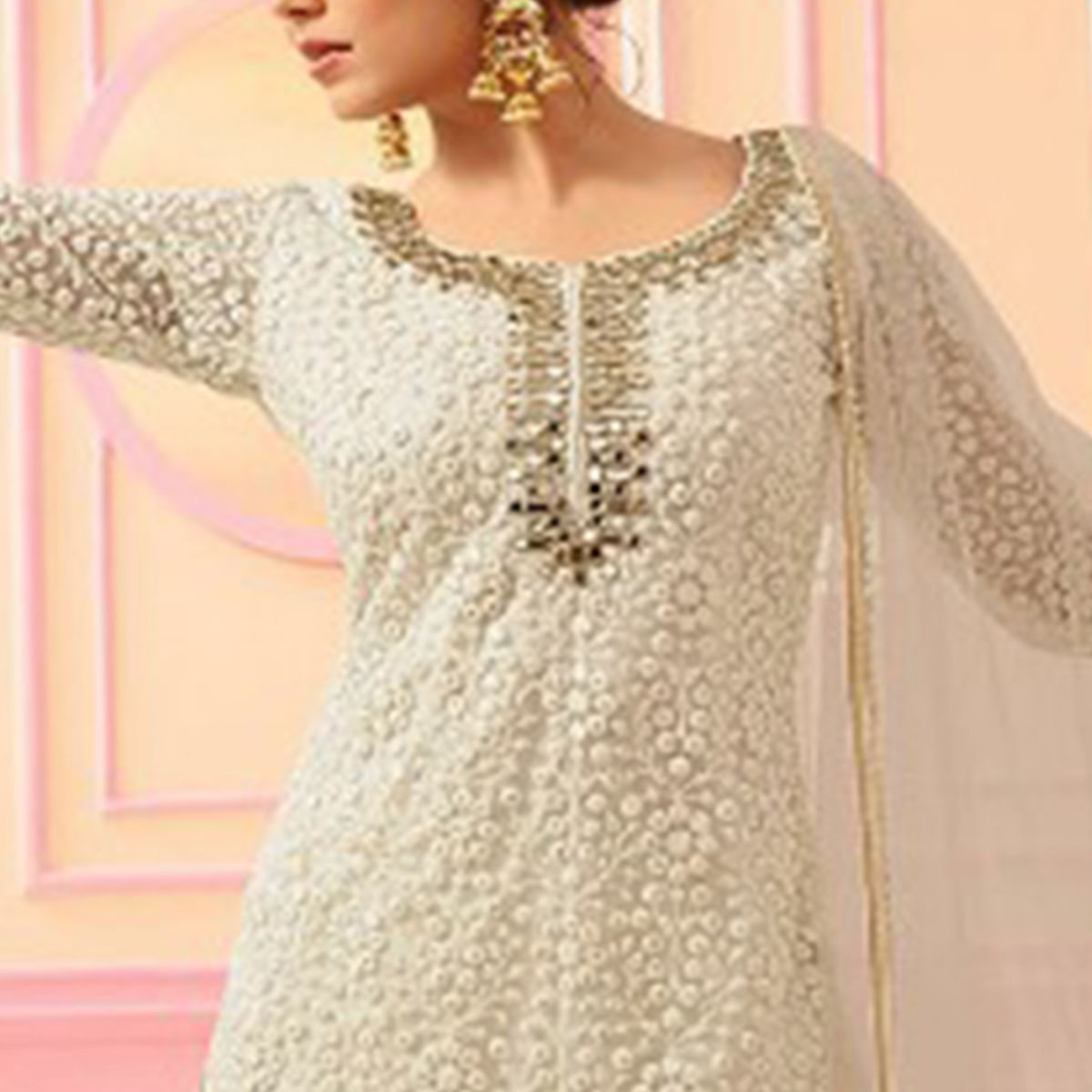 Lovely Off White Colored Party Wear Embroidered Faux Georgette Palazzo Suit