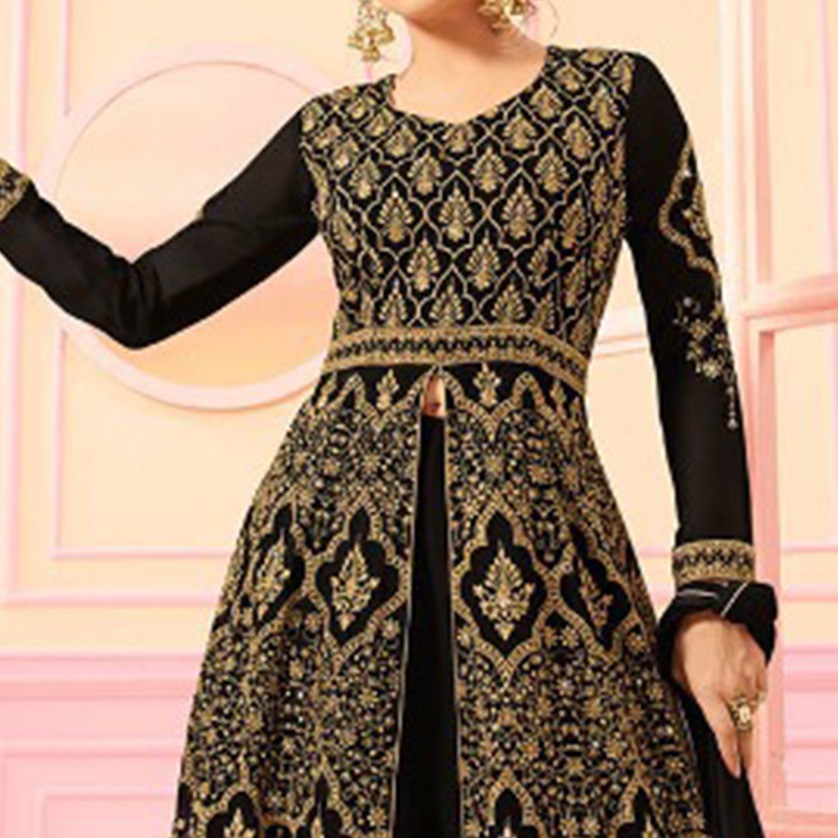 Pretty Black Colored Party Wear Embroidered Faux Georgette Lehenga Kameez