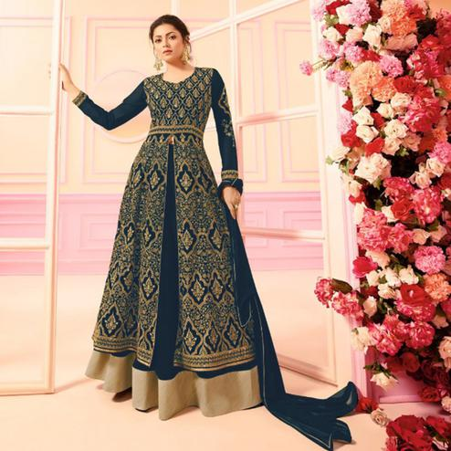 Charming Navy Blue Colored Party Wear Embroidered Faux Georgette Lehenga Kameez