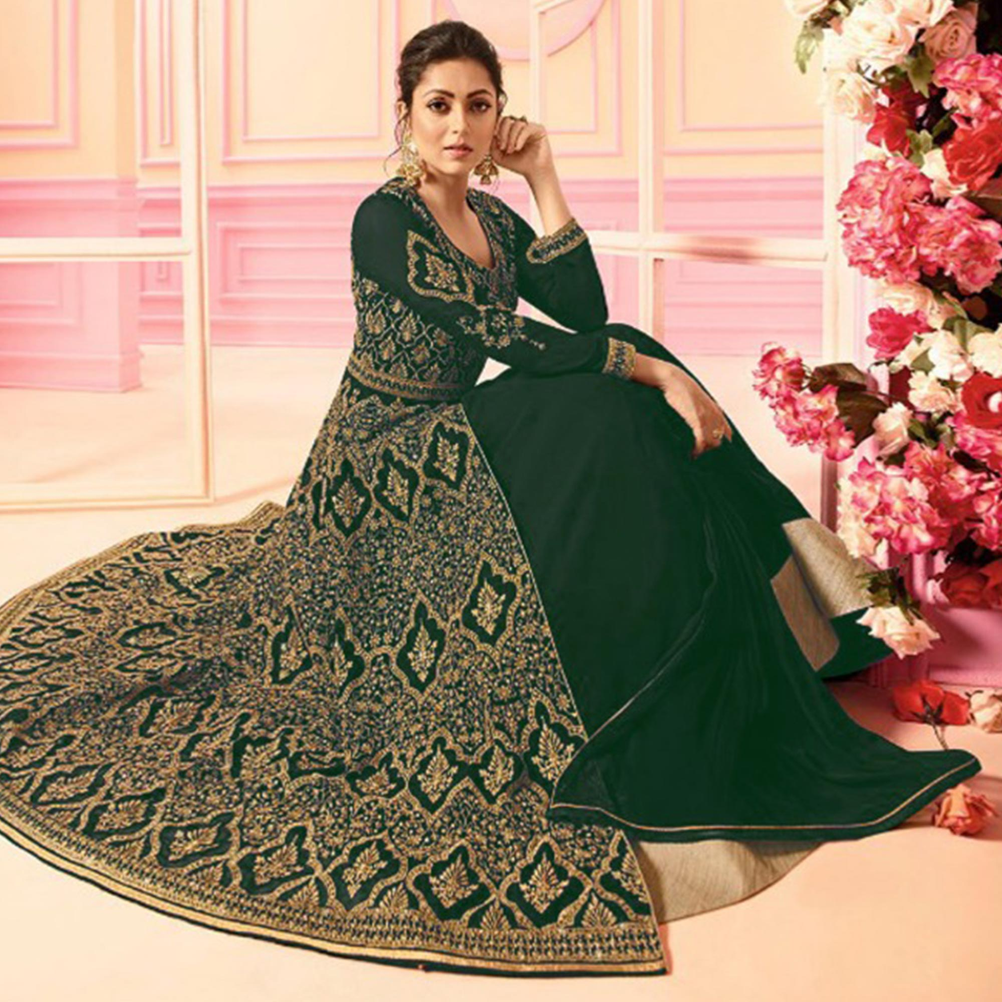 Ravishing Green Colored Party Wear Embroidered Faux Georgette Lehenga Kameez