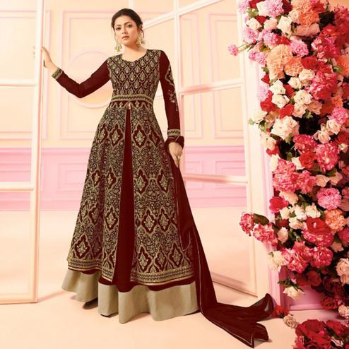 Delightful Maroon Colored Party Wear Embroidered Faux Georgette Lehenga Kameez