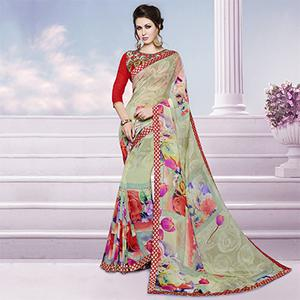 Green Printed Georgette Saree with Embroidered Blouse