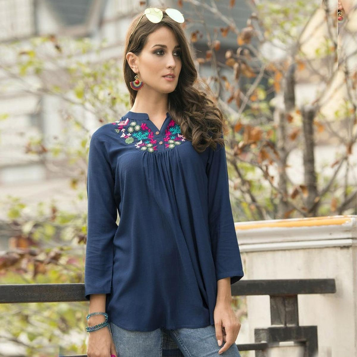 Adorning Navy Blue Colored Embroidered Fancy Wear Rayon Top