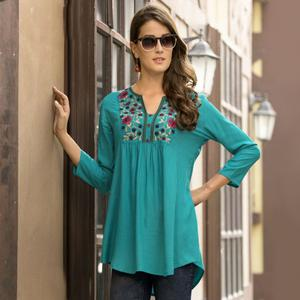 Captivating Sky Blue Colored Embroidered Fancy Wear Rayon Top