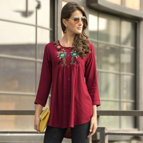 Flirty Maroon Colored Embroidered Fancy Wear Rayon Top