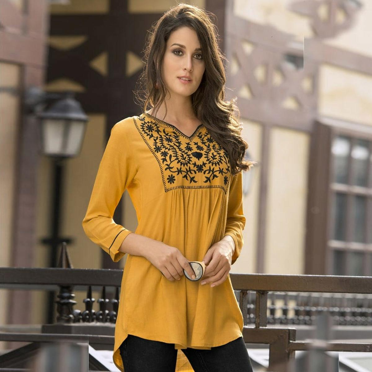 Trendy Yellow Colored Embroidered Fancy Wear Rayon Top
