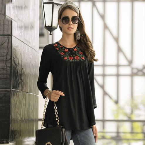 Hypnotic Black Colored Embroidered Fancy Wear Rayon Top