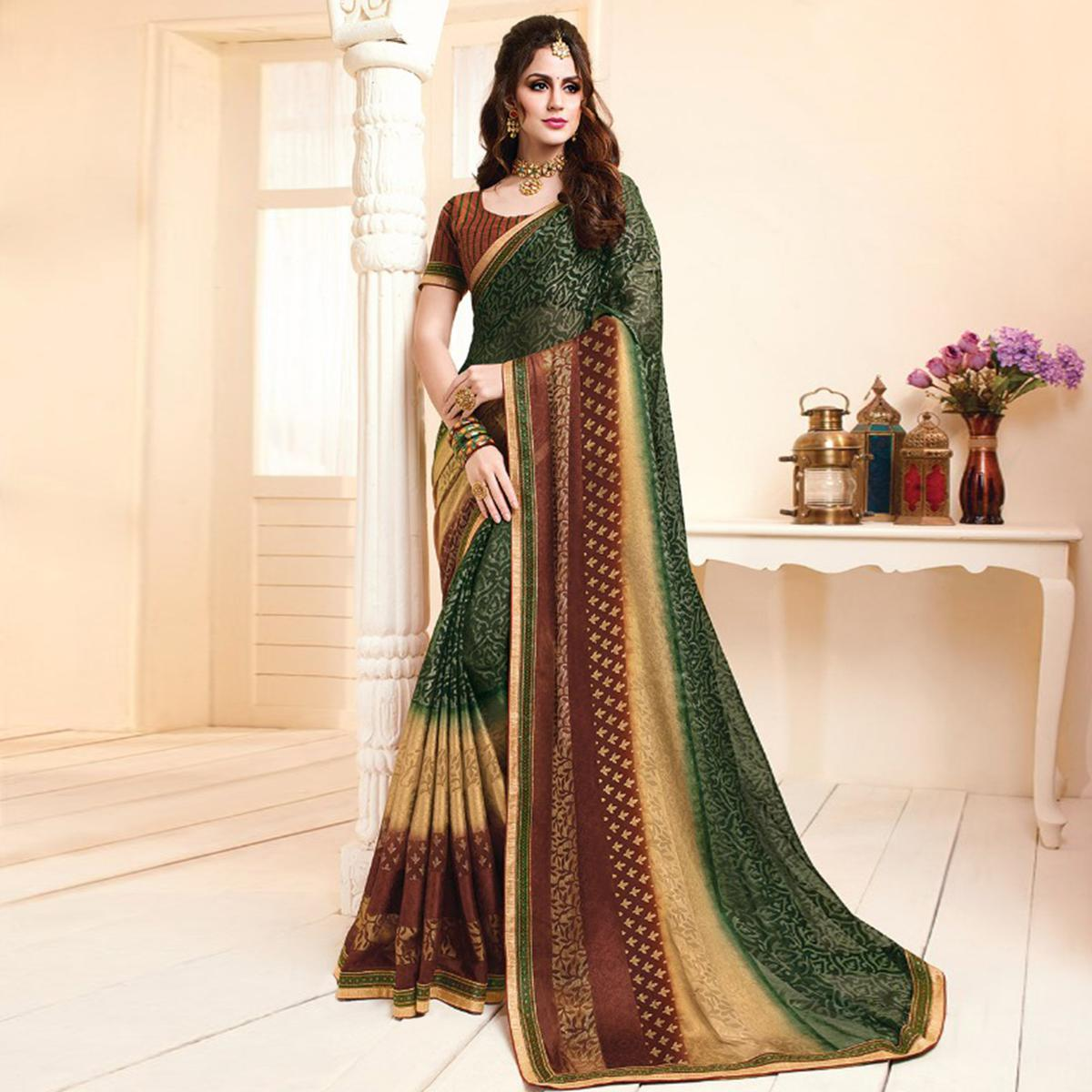 Appealing Dark Green Colored Partywear Printed Brasso Saree