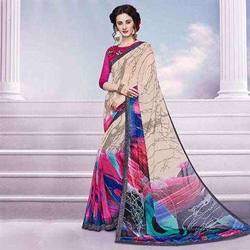 Beige - Multicolored Georgette Saree