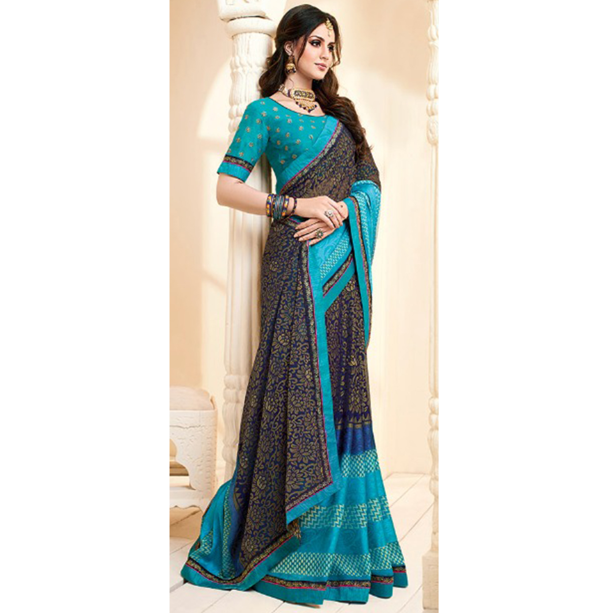 Refreshing Blue Colored Partywear Printed Brasso Saree