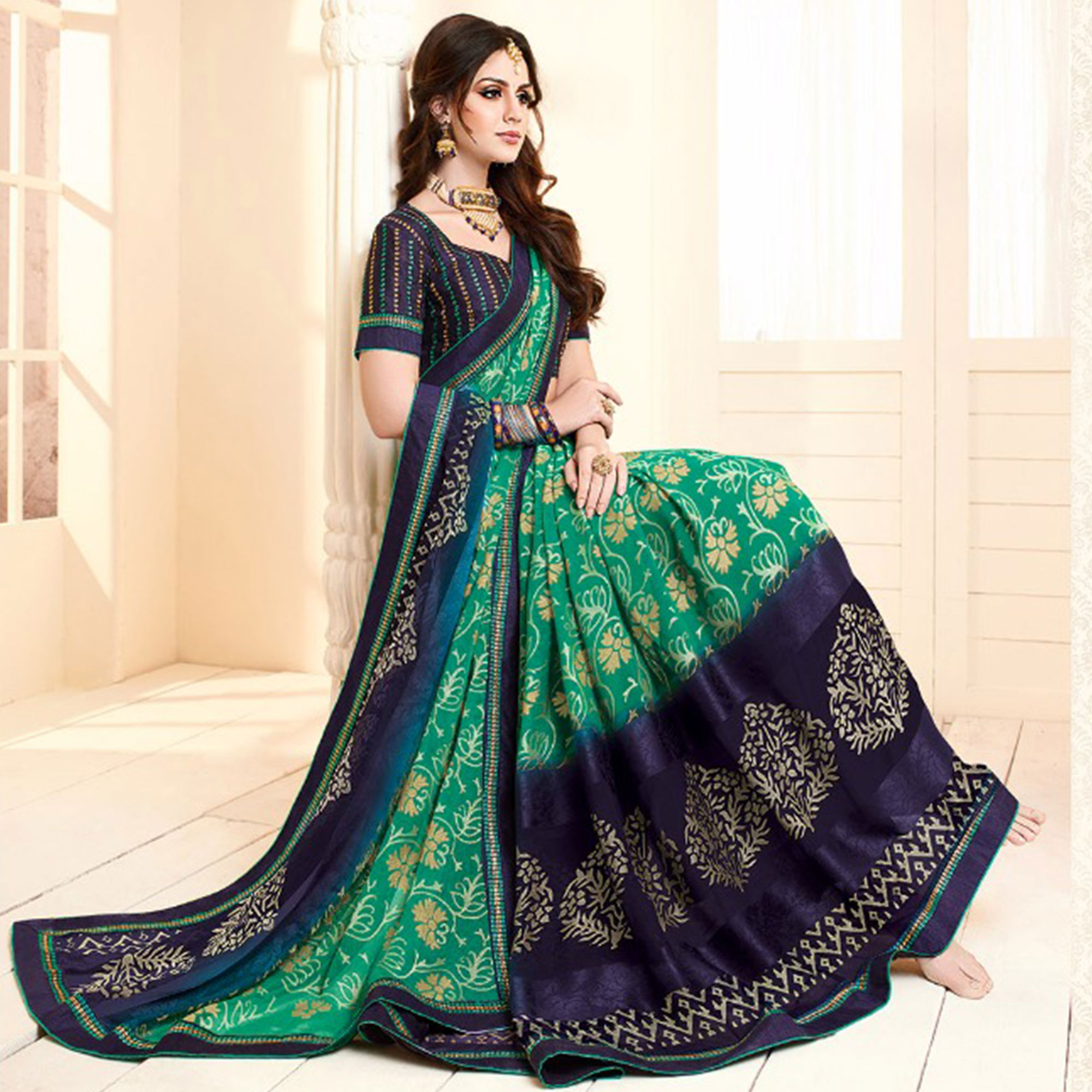 Beautiful Green Colored Partywear Printed Brasso Saree