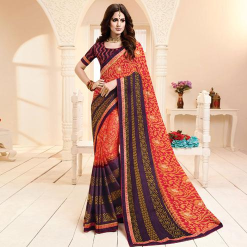 Stunning Red Colored Partywear Printed Brasso Saree