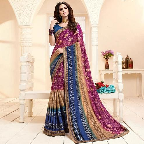 Different Purple Colored Partywear Printed Brasso Saree