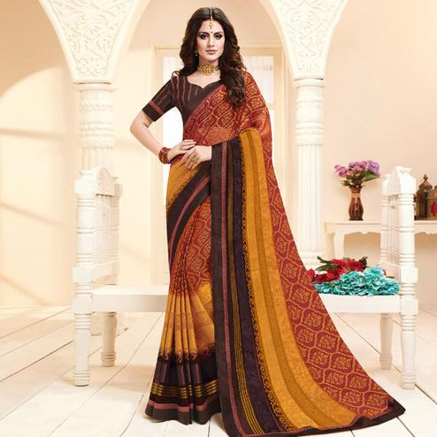 Elegant Red Colored Partywear Printed Brasso Saree