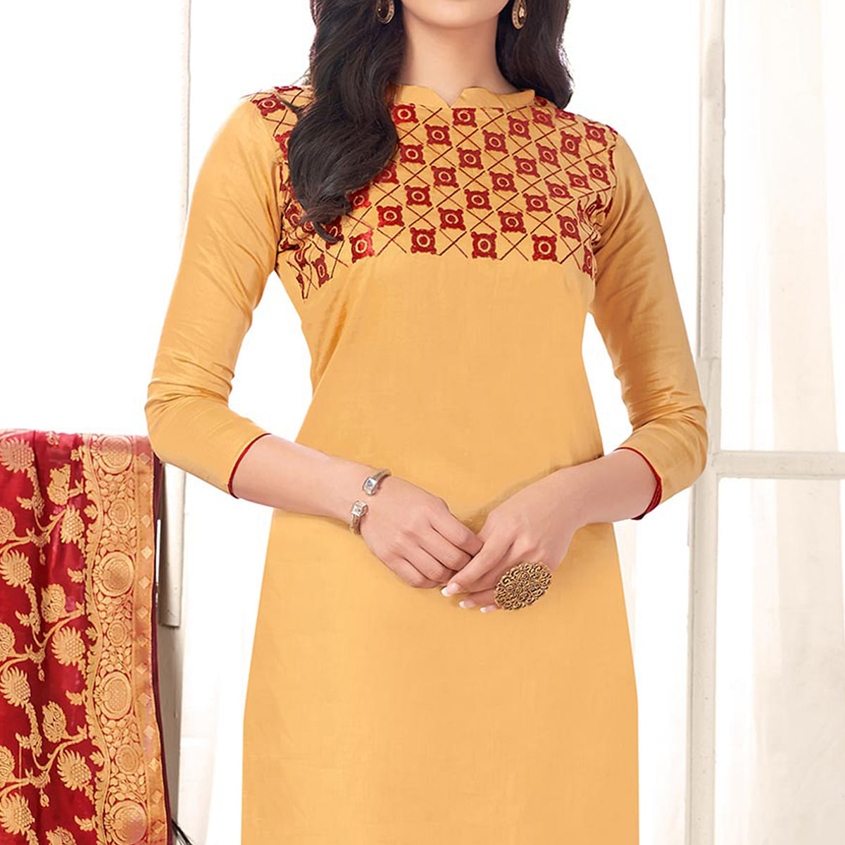 Gorgeous Beige Colored Party Wear Embroidered Cotton Salwar Suit