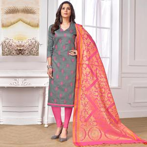 Classy Grey Colored Party Wear Embroidered Cotton Salwar Suit