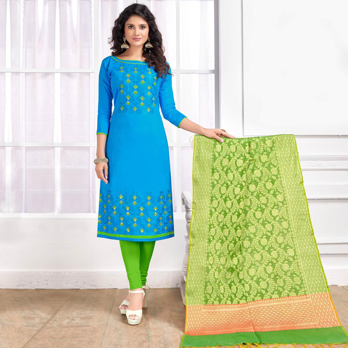 Glorious Sky Blue Colored Party Wear Embroidered Cotton Salwar Suit