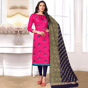Graceful Deep Pink Colored Party Wear Embroidered Cotton Salwar Suit