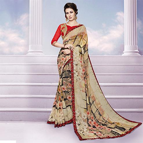 Beige Printed Fancy Saree