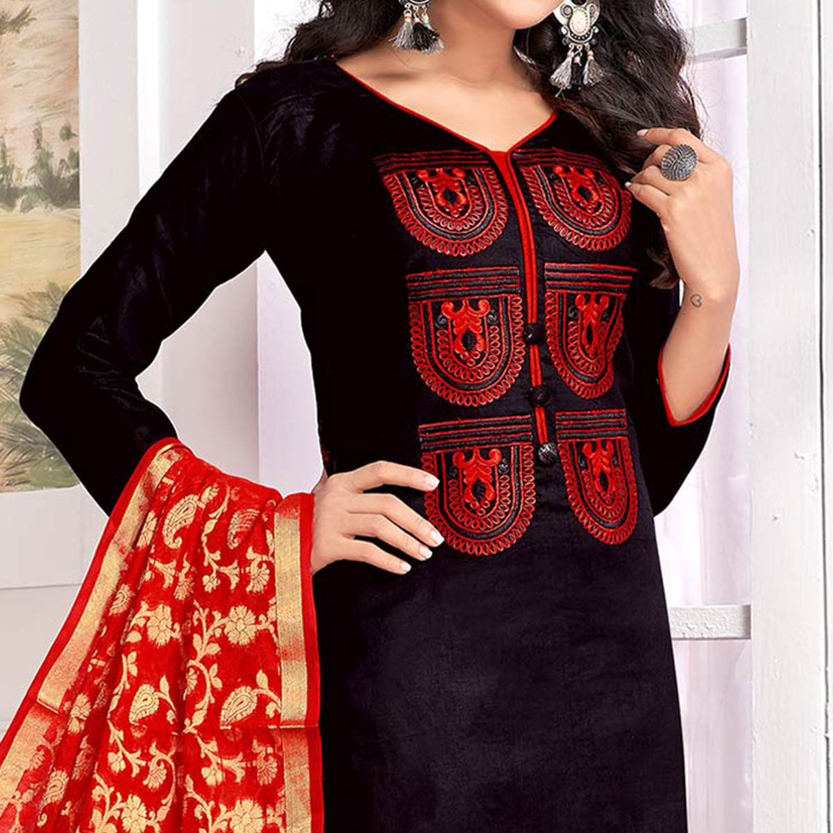 Pretty Black Colored Party Wear Embroidered Cotton Salwar Suit