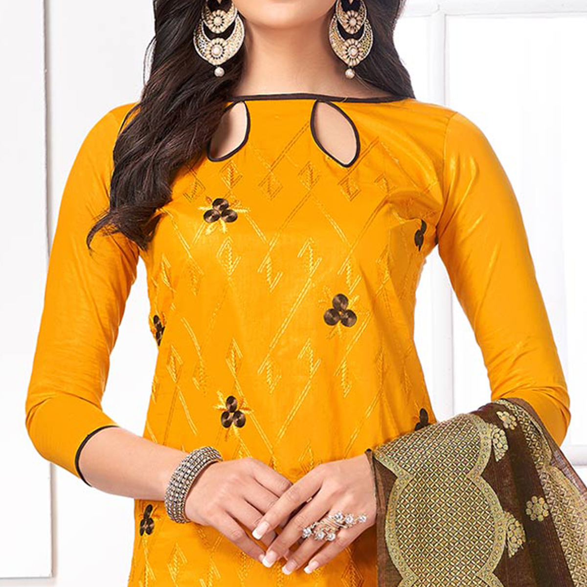Charming Mustard Yellow Colored Party Wear Embroidered Cotton Salwar Suit