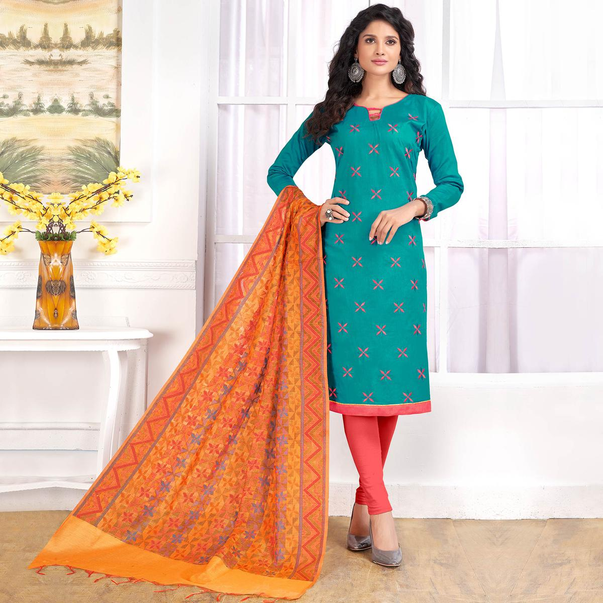 Ravishing Rama Green Colored Party Wear Embroidered Cotton Salwar Suit