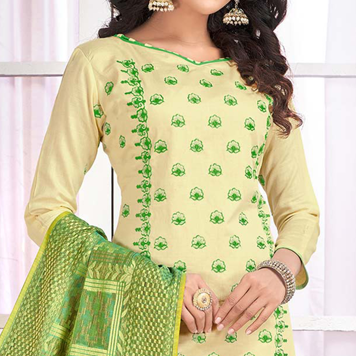 Intricate Cream Colored Party Wear Embroidered Cotton Salwar Suit