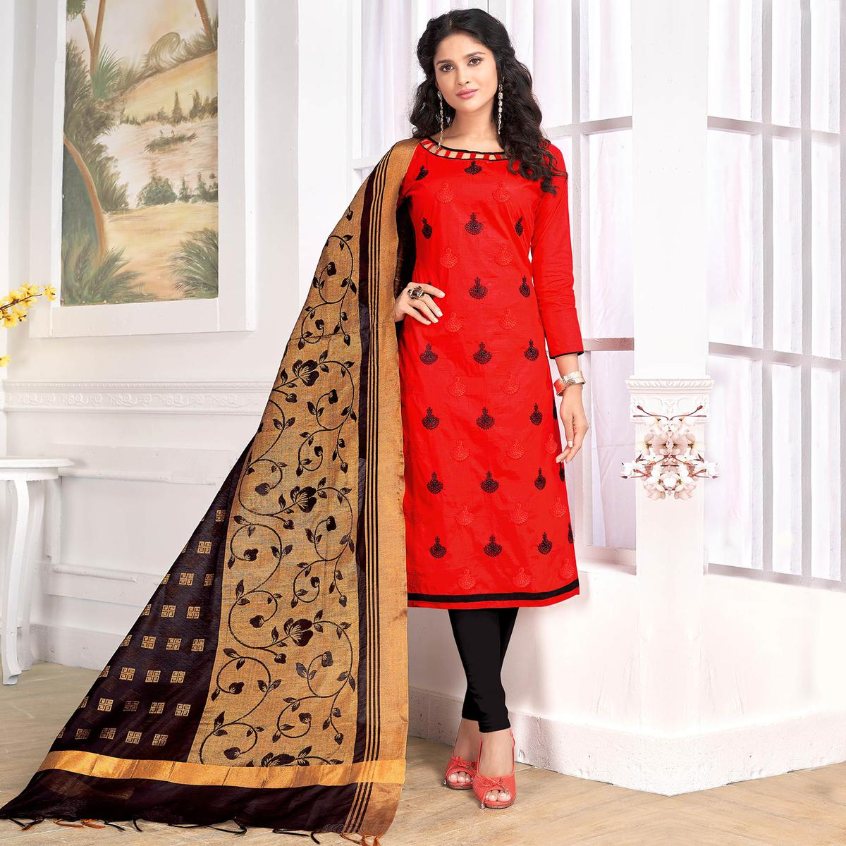 Desirable Red Colored Party Wear Embroidered Cotton Salwar Suit
