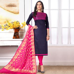 Sophisticated Navy Blue Colored Party Wear Embroidered Cotton Salwar Suit