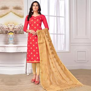Demanding Red Colored Party Wear Embroidered Cotton Salwar Suit